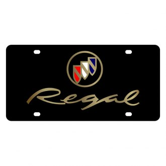Eurosport Daytona® - GM Black License Plate with Gold Regal Logo
