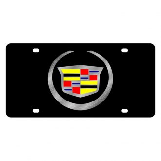 Eurosport Daytona® - GM Black License Plate with Silver Cadillac New Logo