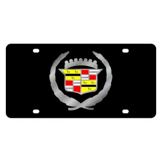 Eurosport Daytona® - GM Black License Plate with Silver Cadillac Logo