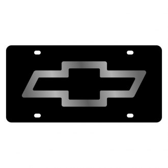 Eurosport Daytona® - GM Black License Plate with Silver Chevrolet Bowtie Logo