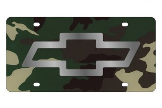 Eurosport Daytona® - GM Green Camouflage License Plate with Silver Chevrolet Bowtie Logo