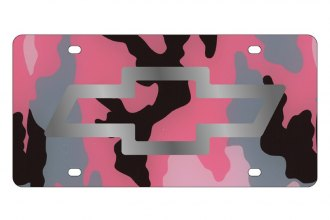 Eurosport Daytona® - GM Pink Camouflage License Plate with Silver Chevrolet Bowtie Logo