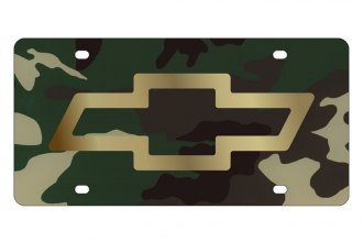 Eurosport Daytona® - GM Green Camouflage License Plate with Gold Chevrolet Bowtie Logo