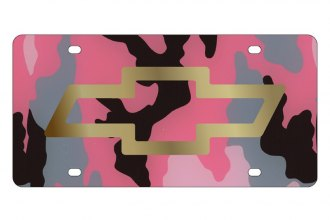 Eurosport Daytona® 2301-2PC - GM Pink Camouflage License Plate with Gold Chevrolet Bowtie Logo