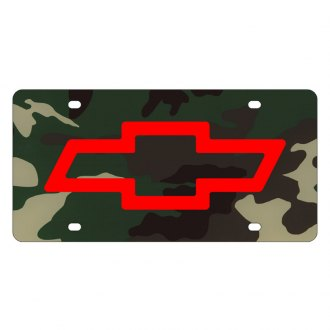 Eurosport Daytona® - GM Green Camouflage License Plate with Chevrolet Bowtie Logo