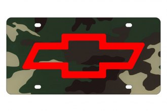 Eurosport Daytona® 2301-4RGC - GM Green Camouflage License Plate with Chevrolet Bowtie Logo