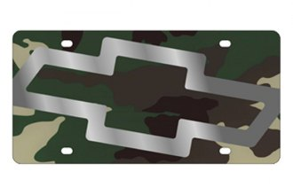 Eurosport Daytona® 2301STMP-1GC - GM Green Camouflage License Plate with Silver Chevrolet Bowtie Logo