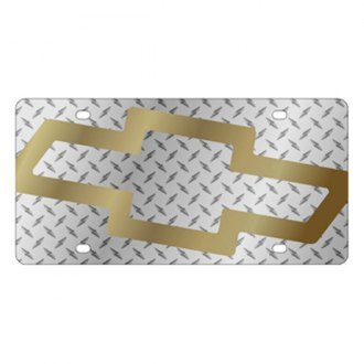 Eurosport Daytona® - GM Diamond License Plate with Gold Chevrolet Bowtie Logo