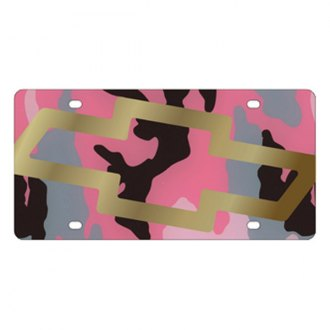 Eurosport Daytona® - GM Pink Camouflage License Plate with Gold Chevrolet Bowtie Logo