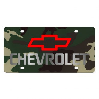 Eurosport Daytona® - GM Green Camouflage License Plate with Silver Chevrolet Logo