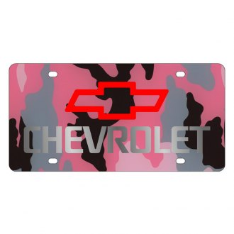 Eurosport Daytona® - GM Pink Camouflage License Plate with Silver Chevrolet Logo