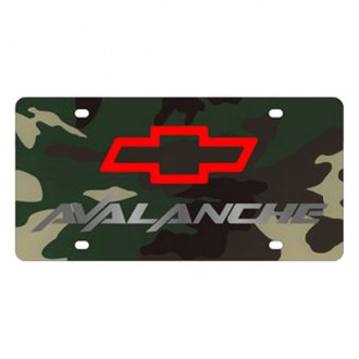 Eurosport Daytona® - GM Green Camouflage License Plate with Silver Avalanche Logo