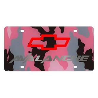 Eurosport Daytona® - GM Pink Camouflage License Plate with Silver Avalanche Logo