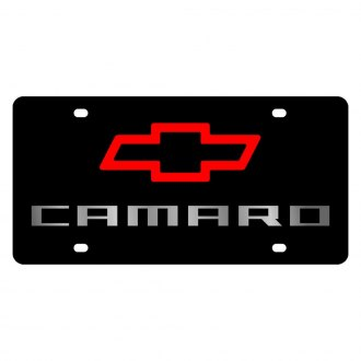Eurosport Daytona® - GM Lazertag Black License Plate with Silver / Red Camaro New Logo and Chevrolet Emblem