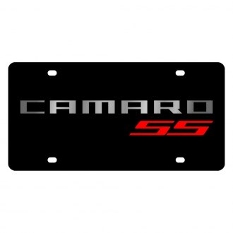 Eurosport Daytona® - GM Black License Plate with Silver Camaro SS (Red) Logo