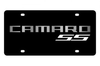 Eurosport Daytona® - GM Black License Plate with Silver Camaro SS (White) Logo