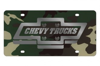 Eurosport Daytona® - GM Green Camouflage License Plate with Silver Chevy Trucks Logo