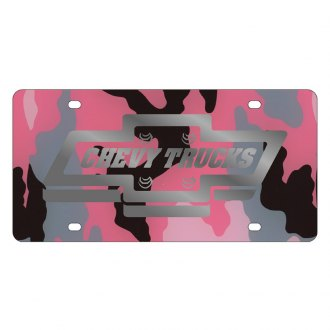 Eurosport Daytona® - GM Pink Camouflage License Plate with Silver Chevy Trucks Logo