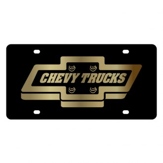 Eurosport Daytona® - GM Black License Plate with Gold Chevy Trucks Logo