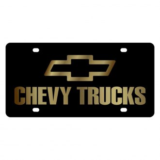 Eurosport Daytona® - GM Lazertag Black License Plate with Gold Chevy Trucks Logo and Emblem
