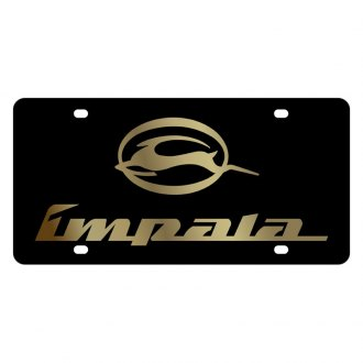 Eurosport Daytona® - GM Black License Plate with Gold Impala Logo