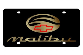 Eurosport Daytona® - GM Black License Plate with Gold Malibu Logo