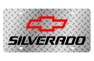 Eurosport Daytona® - Black Silverado Logo on Diamond Plate Lazertag Series License Plate