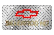 Eurosport Daytona® - Gold Silverado HD Logo on Diamond Plate Lazertag Series License Plate