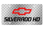 Eurosport Daytona® - Black Silverado HD Logo on Diamond Plate Lazertag Series License Plate