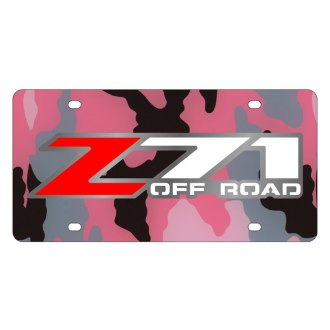 Eurosport Daytona® - GM Pink Camouflage License Plate with Silver Z-71 Logo