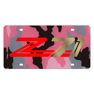 Eurosport Daytona® - GM Pink Camouflage License Plate with Gold Z-71 Logo