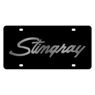 Eurosport Daytona® - GM Black License Plate with Silver Stingray Logo