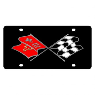 Eurosport Daytona® - GM Black License Plate with Silver Corvette C2 Nostalgia Flags Logo
