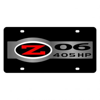 Eurosport Daytona® - GM Black License Plate with Silver Corvette C5 Z06 Badge 405 HP Logo