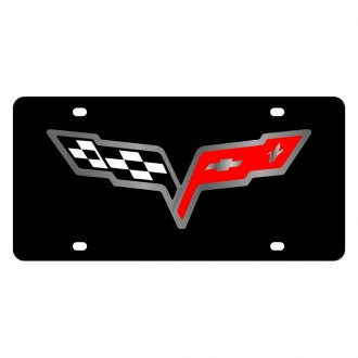Eurosport Daytona® - GM Black License Plate with Silver Corvette C6 Flags Logo