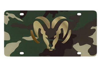 Eurosport Daytona® - MOPAR Green Camouflage License Plate with Gold Ram Logo