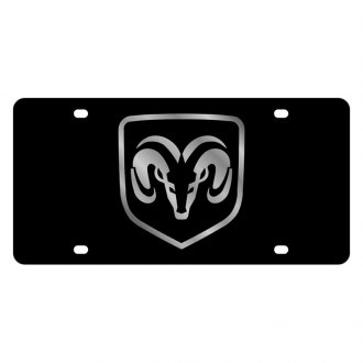 Eurosport Daytona® - MOPAR Black License Plate with Silver Ram Framed Logo