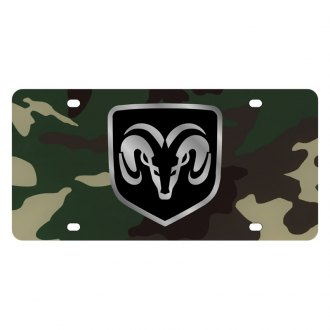 Eurosport Daytona® - MOPAR Green Camouflage License Plate with Silver Ram Framed Logo