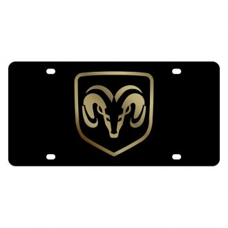 Eurosport Daytona® - MOPAR Black License Plate with Gold Ram Framed Logo