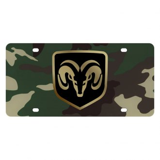 Eurosport Daytona® - MOPAR Green Camouflage License Plate with Gold Ram Framed Logo