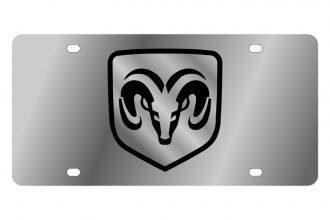 Eurosport Daytona® - MOPAR Stainless Steel License Plate with Black Ram Framed Logo