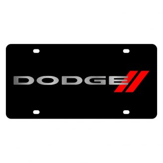 Eurosport Daytona® - MOPAR Black License Plate with Silver Dodge with Red Stripes Logo