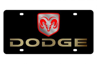 Eurosport Daytona® - MOPAR Black License Plate with Gold Dodge Logo