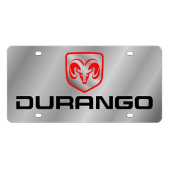 Eurosport Daytona® - MOPAR Stainless Steel License Plate with Black Durango Logo
