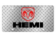 Eurosport Daytona® - Black Hemi Logo on Diamond Plate Lazertag Series License Plate