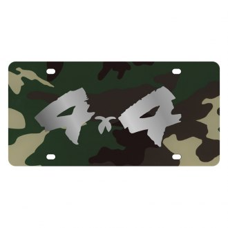 Eurosport Daytona® - MOPAR Green Camouflage License Plate with Silver 4x4 Brushed Logo