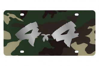 Eurosport Daytona® - Silver 4x4 Brushed Logo on Green Camouflage Lazertag Series License Plate