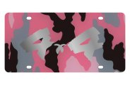 Eurosport Daytona® - Silver 4x4 Brushed Logo on Pink Camouflage Lazertag Series License Plate