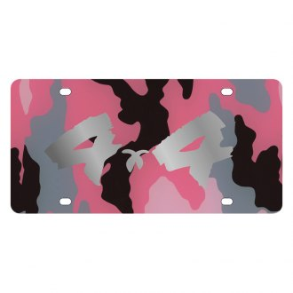 Eurosport Daytona® - MOPAR Pink Camouflage License Plate with Silver 4x4 Brushed Logo