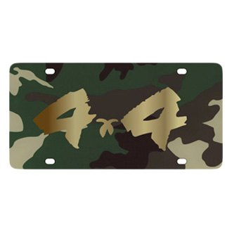 Eurosport Daytona® - MOPAR Green Camouflage License Plate with Gold 4x4 Brushed Logo